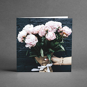 Card Bouquet Pink Peonies
