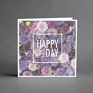 Card Happy birthday Purple