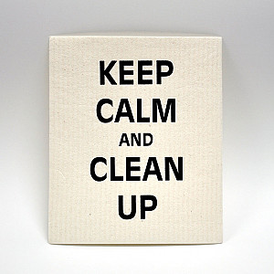 Disktrasa Keep calm and clean up - Vit/Svart
