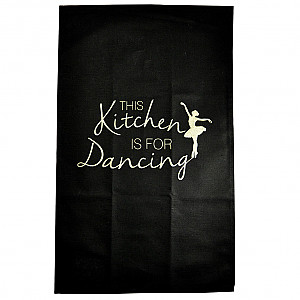 Kökshandduk This kitchen is for dancing - Svart/Guld