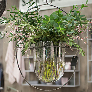 Hanging Glass Pot Circle Antique Silver - Large