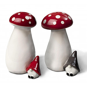Salt & Pepper Gnome on mushroom