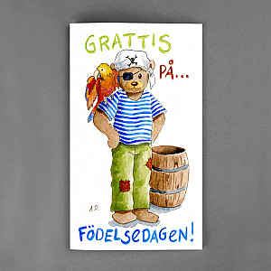 Große Karte Grattis Teddy Bear Pirate
