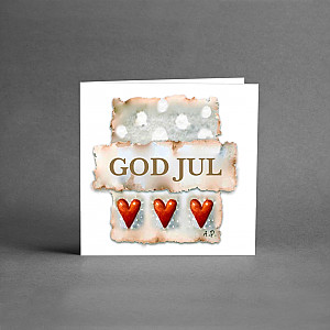 Small Christmas Card God Jul Three Hearts