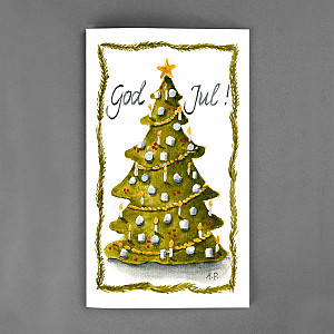 Christmas Card God Jul Christmas Tree