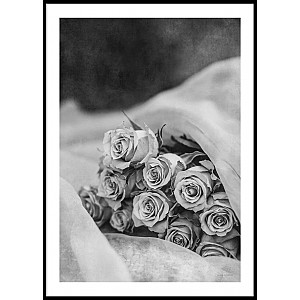 Poster Roses Bouquet Black & White