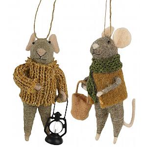 Mice with lantern set of 2