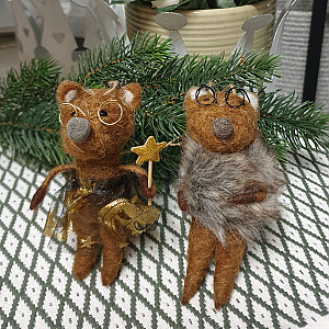 Foxes with glasses set of 2