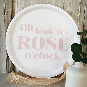 Rund Bricka Rosé o clock - Vit/Rosa