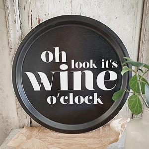 Rundes Tablett Wein Uhr