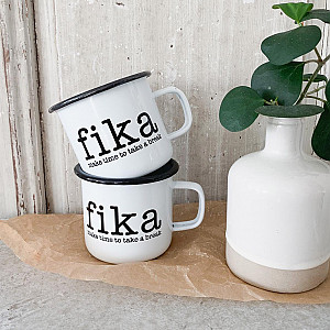 Emaille-Becher Make Time Fika