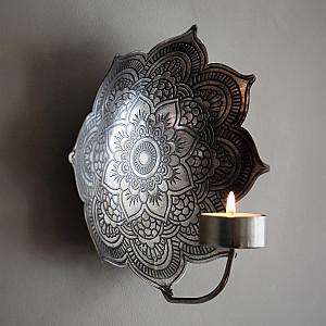 Majas Väggljusstake Mandala Antik Silver - Liten